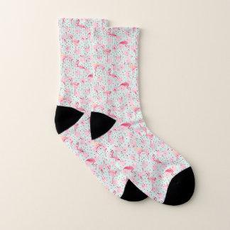 Flamingo Feathers On Polka Dots Socks