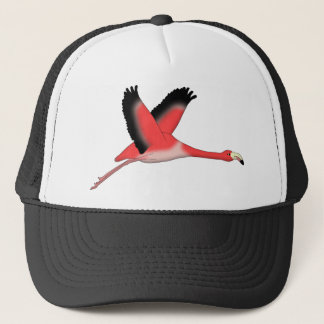 Flamingo flies trucker hat