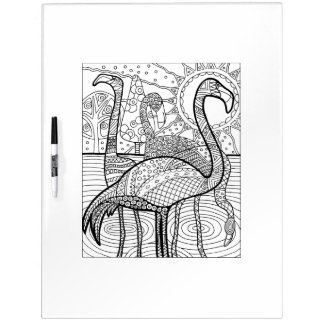 Flamingo Flock Adult Coloring Dry Erase Boards