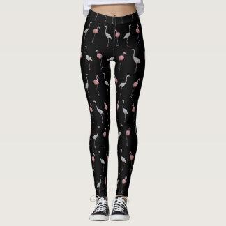 Flamingo Frenzy Leggings (Black)