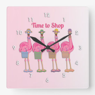 Flamingo Friends are Ready to Shop Clock