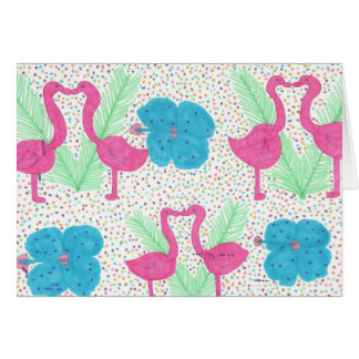 Flamingo Fun Tropical Pattern Card