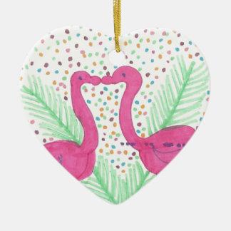 Flamingo Fun Tropical Pattern Ceramic Ornament
