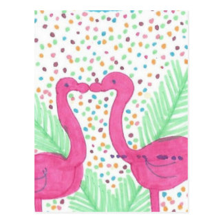 Flamingo Fun Tropical Pattern Postcard