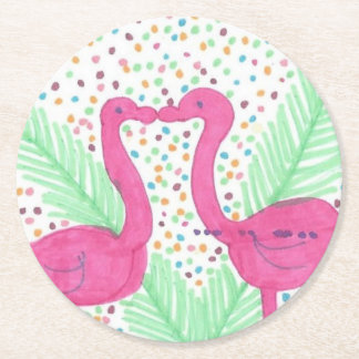 Flamingo Fun Tropical Pattern Round Paper Coaster