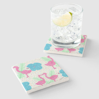 Flamingo Fun Tropical Pattern Stone Coaster