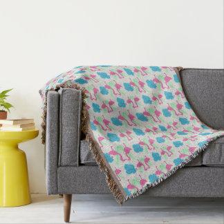 Flamingo Fun Tropical Pattern Throw Blanket