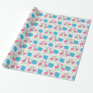 Flamingo Fun Tropical Pattern Wrapping Paper