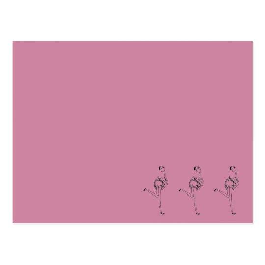Flamingo girl (pink) postcard