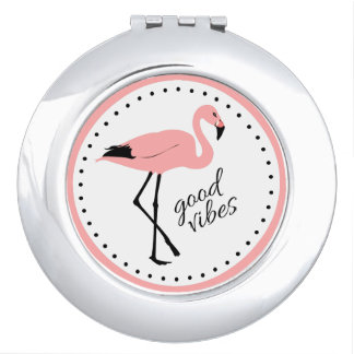Flamingo Good Vibes Pink Black Compact Mirror