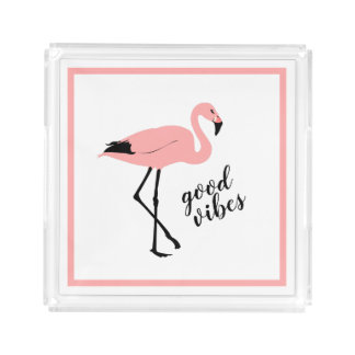 Flamingo Good Vibes Pink Black Cute Tray