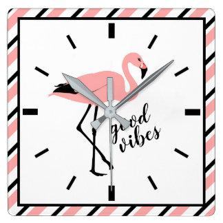 Flamingo Good Vibes Pink Black Square Wall Clock