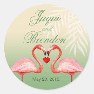 Flamingo Heart Kiss Wedding Favor | jade Classic Round Sticker
