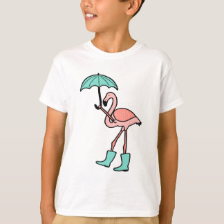 Flamingo Holding Umbrella and Wearing Rain Boots T-Shirt