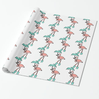 Flamingo Holding Umbrella and Wearing Rain Boots Wrapping Paper