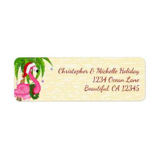 Flamingo Holiday Palm Tree Beach Christmas Address