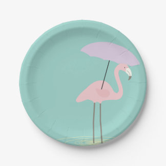 Flamingo in the Rain Party Paper Plates