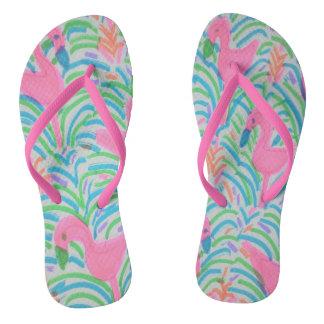 Flamingo Jungle Party Flipflops