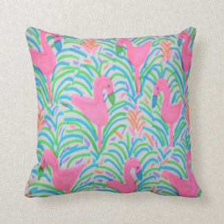 Flamingo Jungle Party Throw Pillow