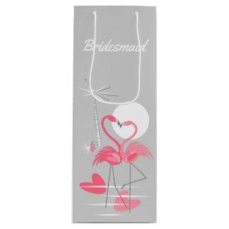 Flamingo Love Bridesmaid gift bag wine