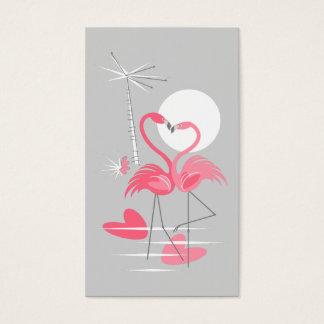 Flamingo Love business card vertical