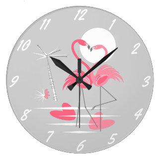 Flamingo Love clock numbers round