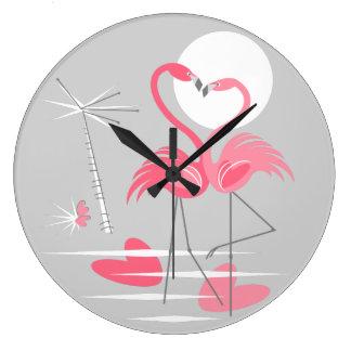 Flamingo Love clock round