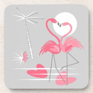 Flamingo Love coaster cork back
