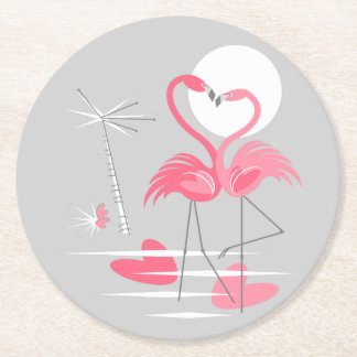 Flamingo Love coaster round