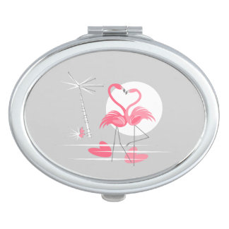 Flamingo Love compact mirror oval