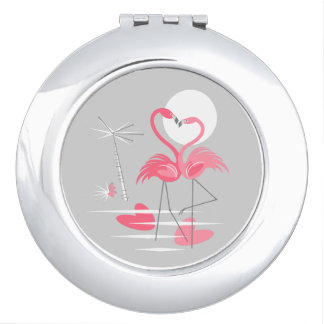 Flamingo Love compact mirror round