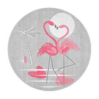 Flamingo Love cutting board round
