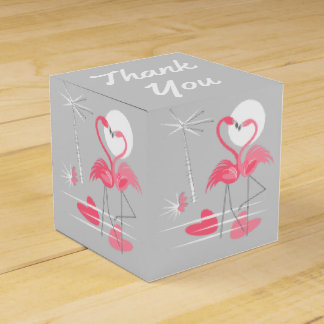 Flamingo Love favor box Thank You classic