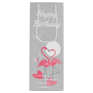 Flamingo Love Happy Birthday gift bag wine