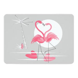 Flamingo Love invitation horizontal