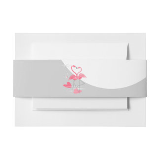 Flamingo Love Large Moon belly band landscape Invitation Belly Band