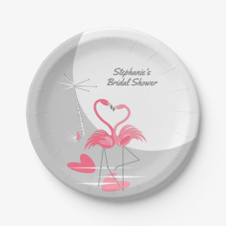 Flamingo Love Large Moon Bridal Shower paper Paper Plate