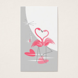 Flamingo Love Large Moon business card vertical