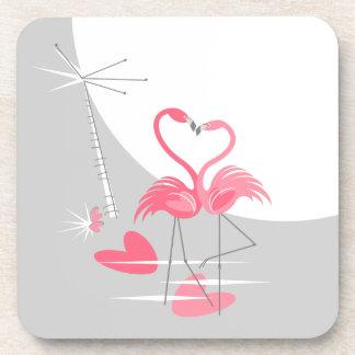 Flamingo Love Large Moon coaster cork back