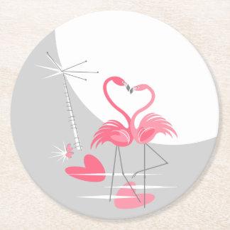 Flamingo Love Large Moon coaster round