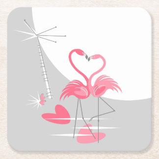 Flamingo Love Large Moon coaster square