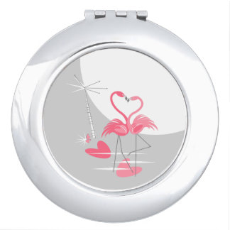 Flamingo Love Large Moon compact mirror round
