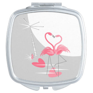 Flamingo Love Large Moon compact mirror square