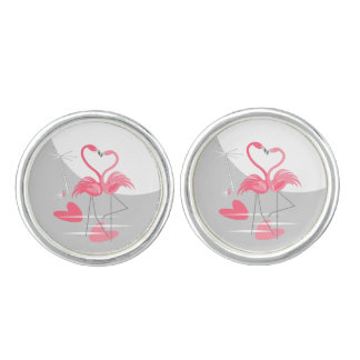 Flamingo Love Large Moon cufflinks round