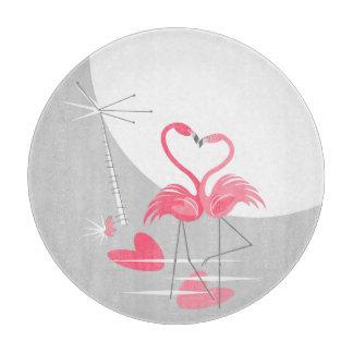 Flamingo Love Large Moon cutting board round