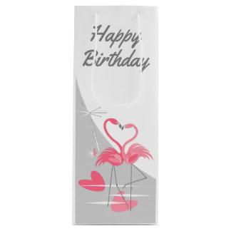 Flamingo Love Large Moon Happy Birthday wine Wine Gift Bag