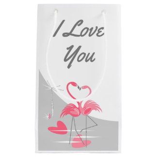 Flamingo Love Large Moon I Love You small Small Gift Bag