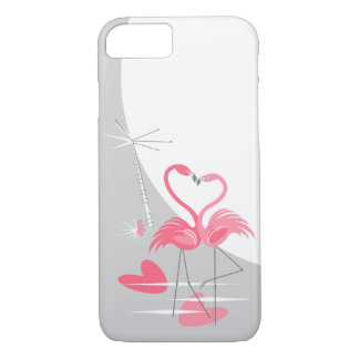 Flamingo Love Large Moon iPhone 7 case vertical