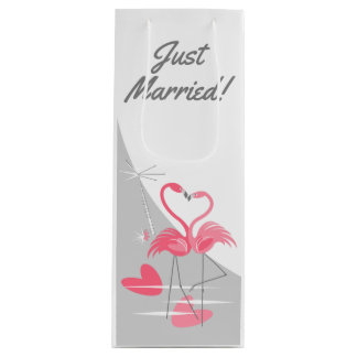 Flamingo Love Large Moon Just Married! wine Wine Gift Bag