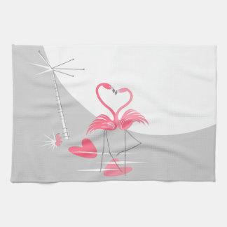 Flamingo Love Large Moon kitchen towel
